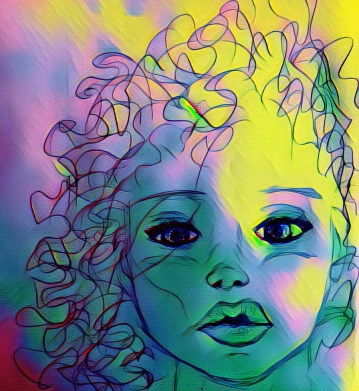 Pintura que representa a una niña de pelo rizado